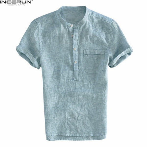 2018 Fashion Brand Summer Shirt Men Short Sleeve Stand Collar Solid Shirt Male Comfortable Breathable Loose Casual Shirts camisa