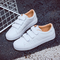 2018 summer new fashion women shoes casual high platform hole PU leather striped simple women casual white  shoes sneakers