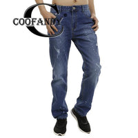 Casual Men Solid Button Zipper Pocket Blue Jeans