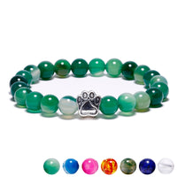 7 Colors Natural Stone Mala Bead Yoga Bracelet Dog Hand Paw 8mm Stretch Rope Bead Bracelet Wristband for Women Men Pet Jewelry