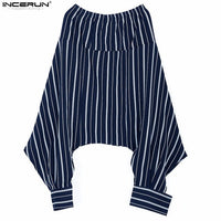 Casual Men's Cross Pants Harem Pants Men Hip Hop Joggers Pants Fashion Streetwear Trousers Men Stripe Crotch Pants For Unisex