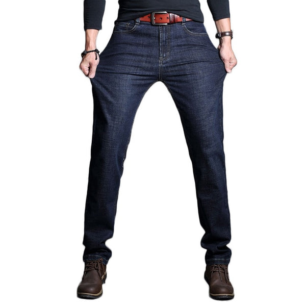 2018 New Arrived Men Jeans Quality Straight Jeans Business Casual Cotton Slim Fit Blue Long Jeans Trousers D85