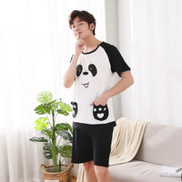 3XL 4XL 5XL Short Pant Pyjamas Sets Men Pajama Set Nightwear Summer Plus Size Cotton Short-sleeve Male Sleepwear Sets Young Top