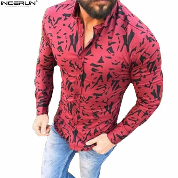 Camo Streetwear Shirt Men Long Sleeve Button Shirts 2018 Men's Dress Shirt Camisa Masculina Male Fashion Slim Fit Shirt Cotton