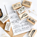 Cartoon Animal Friend Play Together Wooden DIY Stamp Set Student Prize Promotional Gift Stationery