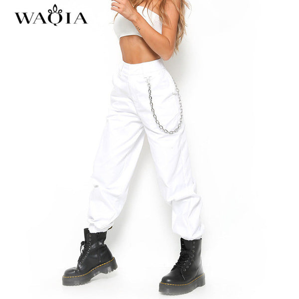 WAQIA 2018 Women Elegant Chain High Elastic Waist Long Harem Pants Casual Baggy Party Trousers Pockets Work Solid Loose Pantalon