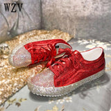 new 2018  fashion casual shoes expensive diamond women shoes lace-up Flat shoes Zapatillas Mujer Women Flats shoes woman F153