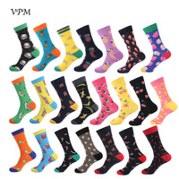 VPM Colorful Cotton Men Socks Funny Food Pineapple Pizza Hamburger Beer Chili Skate Harajuku Happy Socks for Christmas Gift