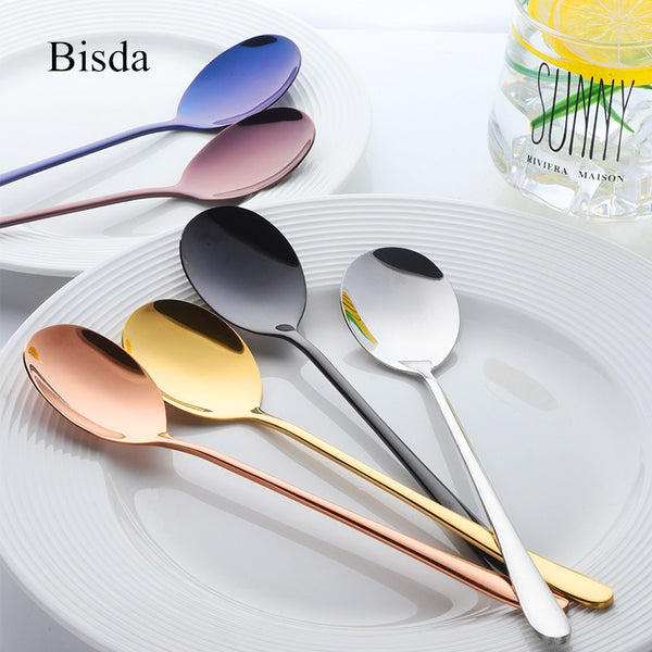 7 Color Stainless Steel Spoons With Long Handle Spoons Rose Gold Soup Spoon for Ice Cream Dinner Spoons Rice/Salad Tableware