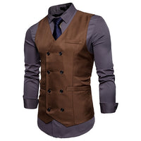 New Brand Dress Vests For Men Casual Slim Fit Mens Suit Vest Double breasted Waistcoat Gilet Homme Formal Business Jacket XXL