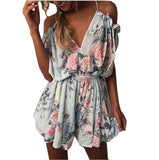 ELSVIOS Women Rompers print  lace Jumpsuit Summer Short pleated Overalls Jumpsuit Female chest wrapped strapless Playsuit