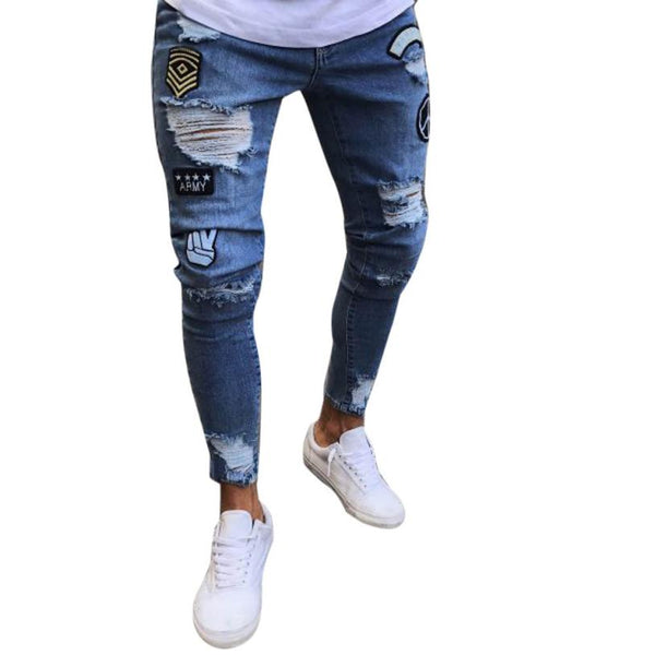 Fashion Men Slim Biker Zipper Denim Jeans Skinny Frayed Pants Distressed Rip Trousers hip hop summer tops for men 2018
