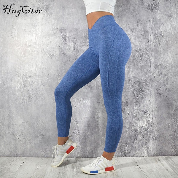 Hugcitar Sexy Push Up Leggings Women Fashion High Waist Workout Polyester fitness trousers Activewear Slim casual pants