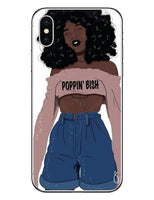 2bunz Melanin Poppin Aba Cases For iPhone X Fashion Black Girl Hard PC Phone Cover For iPhone 5 5S SE 6 6SPlus 7 7 Plus 8 8Plus