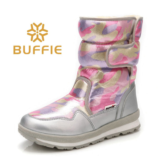 Pink camouflage winter boots snow shoes younger wearing hot fur nice look waterproof fabric plus big size silver banding 2018 ne