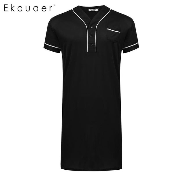 Ekouaer Men Nightshirt Sleepwear Casual V-Neck Short Sleeve Pocket Comfort Loose Night Shirt Men Home Clothing Plus Size