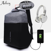 Aelicy Luxury Anti-theft USB Charging Backpacks Men Women Multi-functional Computer Bag Password Lock High-capacity Laptop Bag