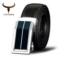 COWATHER Belt For Men Cow Genuine Leather Belts Alloy Automatic Buckle Cowhide  Male Strap Cowskin Male Straps New Men Waistband