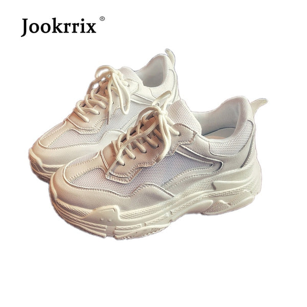 Jookrrix 2018 Summer New Fashion Brand Lady Casual White Shoes Women Mesh Shoes Adult Girl Leisure Platform Sneaker Breathable