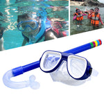 2018 New Child Diving Snorkeling Mask Swimming Scuba Total Dry Snorkel and Mask Glass Lens PVC 4 Color Child Diving Glasses