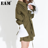 [EAM] 2018 New Autumn Temperament Black Pleated 3 Colors Button All-match Black Cuff Women Cuff Fashion Tide All-match ASS