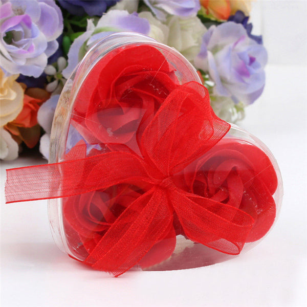 3Pcs Scented Rose Flower Petal Bath Body Soap Wedding Party Gift