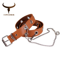 COWATHER belts for women decorated women belt fashion design pu leather strap alloy pin buckle female straps newest waist belt