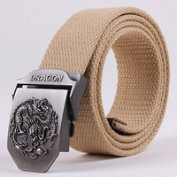 50% OFF Hot sale Canvas Dragon totem Metal Buckle Belt 11 colors mens ethnic style casual Waistband 110cm C414-1