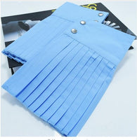 [EAM] 2018 Autumn Fashion New Korean Solid Color White Blue Black Pleated Buttons False Cuff Oversleeve Cuff All-match ASS30080