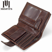 MISFITS Vintage Men Wallet Genuine Leather Short Wallets Male Multifunctional Cowhide Purse Coin Pocket Driver License Holder