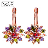 X&P Fashion Luxury Flower Gold Stud Earrings for Women Girl Birthday Zircon Stone Earring Jewelry Gift