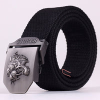 Fashion Canvas Premium Dragon Metal belts Mens strap man Ceinture Buckle Belt men's belt 110-140cm Free shipping MB009