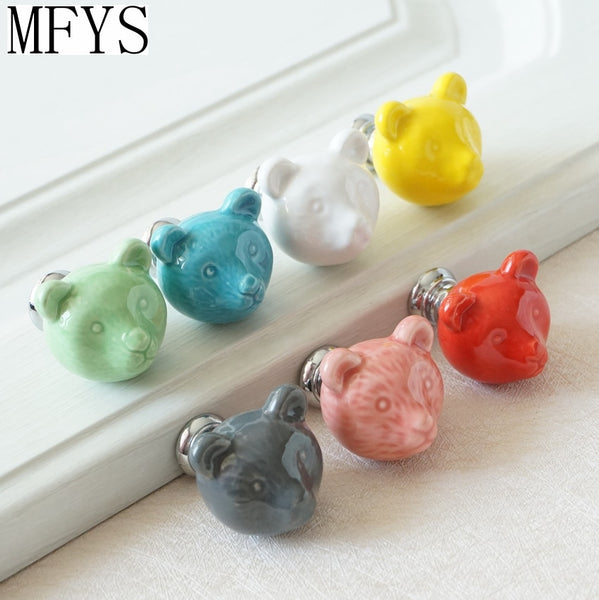 Ceramic Bear  Knobs Drawer Knobs Colorful Knobs for Children Dresser Cabinet Knobs Blue Red Pink Kitchen Cupboard Handle Decor