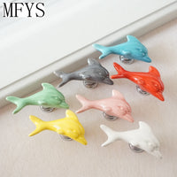 Ceramic knobs Dolphin Colorful Dresser Knobs / Drawer Cabinet Handles Children Cupboard Knobs Decorative Handle Red Pink Yellow