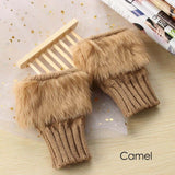 1 Pair Fashion Women Faux Rabbit Fur Hand Wrist Knitted Fingerless Gloves Autumn Winter Warmer Mittens Christmas Gifts
