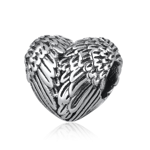 Silver Plated Beads Pendant Charms fit Pandora Bracelet Bangle Heart Angelic Feathers Angel Wing Minnie Mickey  Owls DIY Jewelry