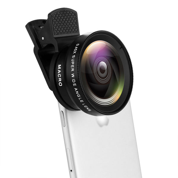 Powstro Phone Lens Kit 0.45X Wide Angle + 12.5X Macro Lens Clip-on Cellphone Camera Without Dark Corner For All Phone