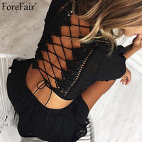 ForeFair Hollow Out Lace Short Sleeve Backless Sexy Jumpsuit Rompers Women Summer Short Pants Two Piece Lace-Up