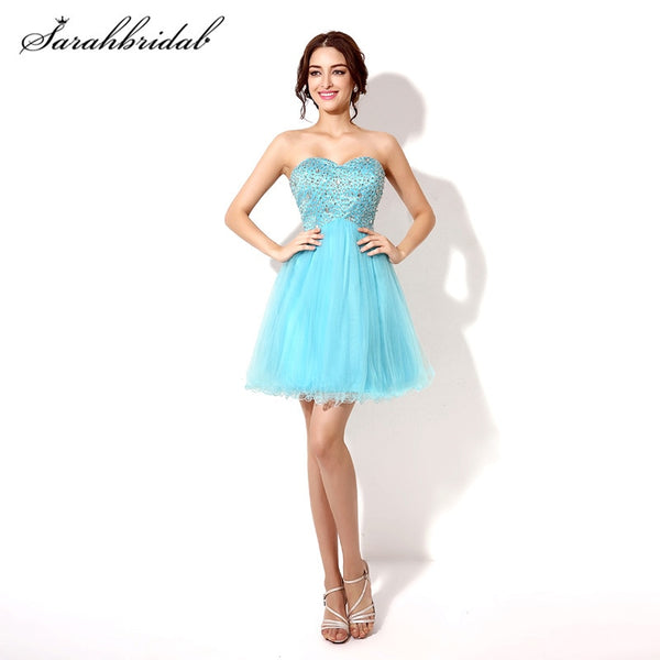 Youthful Short Homecoming Prom Dresses Beaded Tulle Sweetheart Cheap Graduation Cocktail Party Gowns Back Lace Above Knee SD034