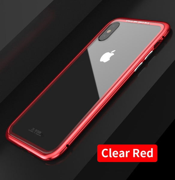 Magnetic Adsorption For iPhone X 8 Plus 7 Plus 6s Plus Full Body Slim Fit Ultra-Thin Case Lightweight Luxury Metal Bumpers