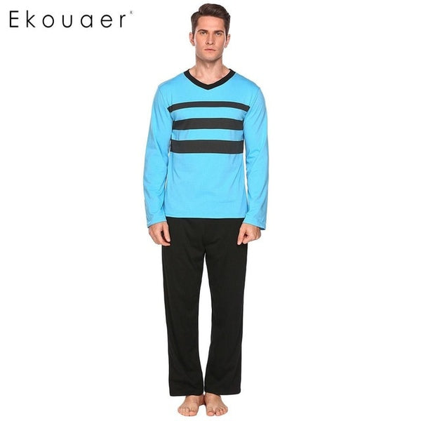 Ekouaer Cotton Men Pajamas Set Sleepwear V-Neck Loose Striped Shirt Long Pants Set Pajama Casual Male Nightwear Home Clothing