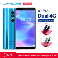 Umidigi A1 Pro Global Version Dual 4G LET Smartphone 18:9 Full Screen 3GB+16GB 3150mAh Android 8.1 Face ID 13MP MT6739 Cellphone
