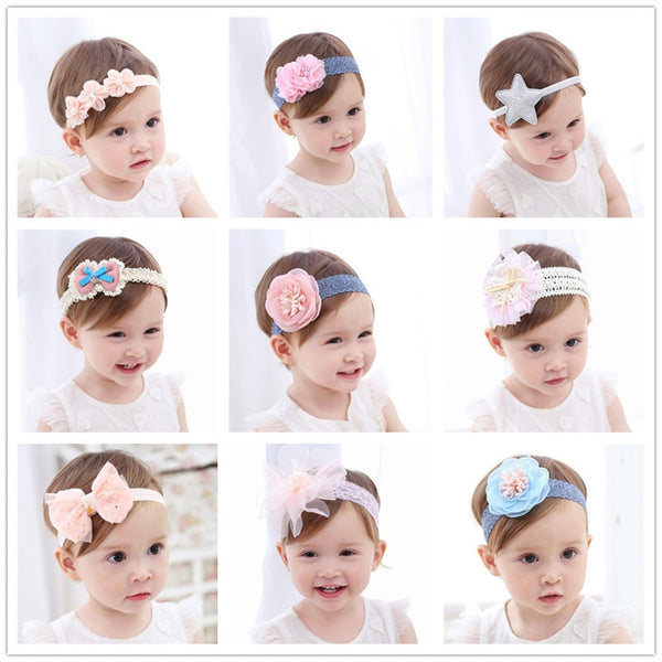 Fashion Newborn Toddler Headband Children's Cute Hair Accessories Baby Band Lace Pentagram Flowers Girl Elastic bands Headwear