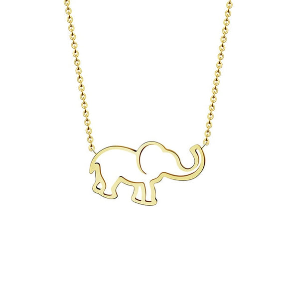 Collier Femme Stainless Steel Gold Chain Origami Elephant Pendant Necklaces For Women Jewelry Collares Largos De Moda 2018 Kolye