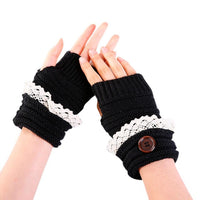 New Arrival Fashion Women Winter Short Lace Button Warmer Knitted Fingerless Gloves Mitten driving mittens guantes invierno