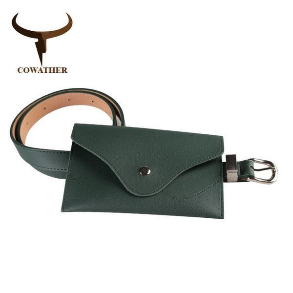 COWATHER decorated women belt bag design belts for women fashion pu leather strap pin buckle waist belts newest female waistband
