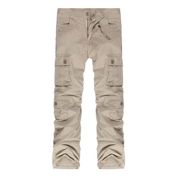 2018 Fashion Cotton Men Military Long Cargo Overall Multi-pocket Pants Work Trousers Men Baggy Sweatpants Plus Size 46 44 42 40