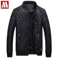 2018 New Winter Leather Jacket Men Casual Faux Leather Fur Jackets Plaid Velvet Fleece Warm Motorcycle Outwear Jaqueta De Couro