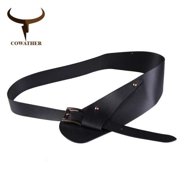 COWATHER decorated women belt fashion design belts for women pu leather strap alloy pin buckle female straps newest waist belt