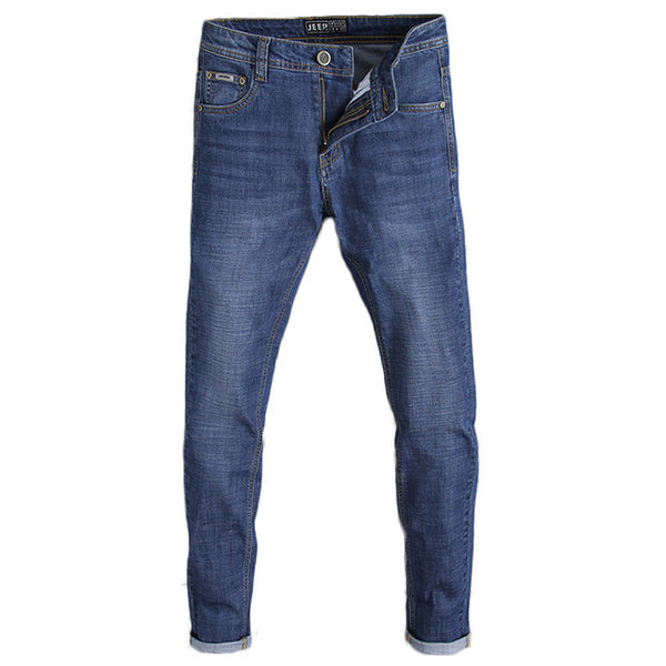 2018 New Arrived Men's Jeans Classic Stretch Blue Business Casual Denim Pants Slim Long Trousers Jeans Trousers D84